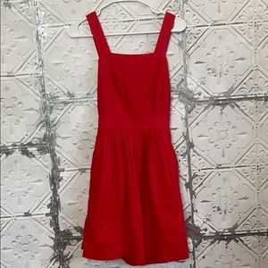 J crew red linen apron dress with tie back